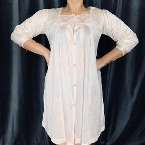 Vtg pale pink lacey button front nightgown dress